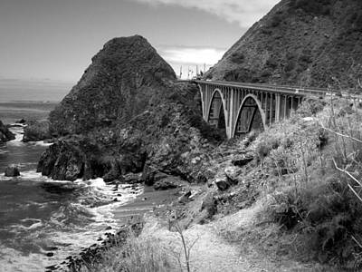 Photograph - Lime Creek Bridge Highway 1 Big Sur Ca B And W by Joyce Dickens