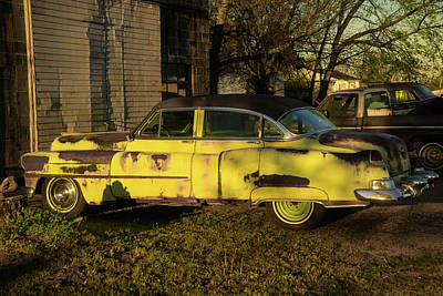 Photograph - Lime Green Antique Car At Sunrise by Douglas Barnett