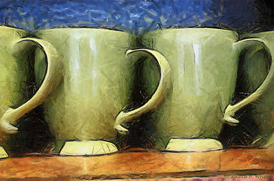 Lime Green Cups Print by Paulette B Wright