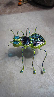 Sculpture - Lime Green Dichroic Bug by Maxine Grossman