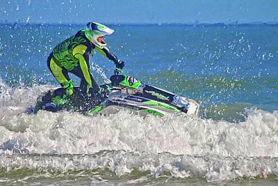 Photograph - Lime Green Jetskier by Alice Gipson