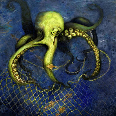 Digital Art - Lime Green Octopus With Net by Sand And Chi