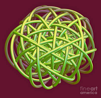 Lime Green Rope Ball Original by Linda Phelps