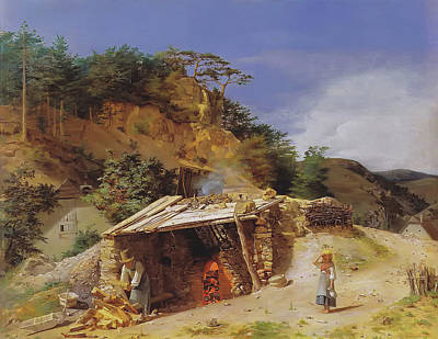 Oven Painting - Lime Kiln In Hinterbruhl by Ferdinand Georg Waldmuller