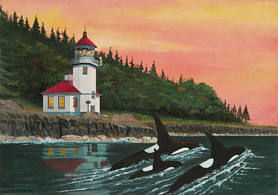 Orca Mixed Media - Lime Kiln Lighthouse by James Lyman