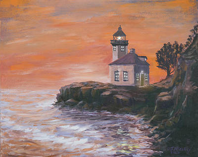 San Juan Painting - Lime Kiln Lighthouse by Jerry McElroy