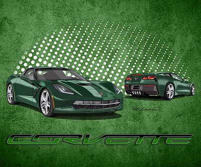 Chevrolet Corvette Painting - Lime Rock Green - C7 Stingray Corvette by Rudy Edwards