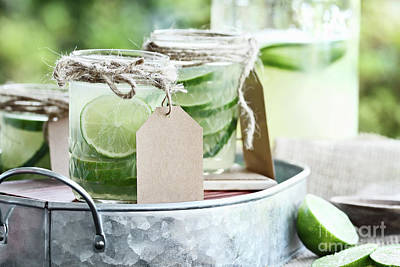 Photograph - Limeade In Mason Jars by Stephanie Frey