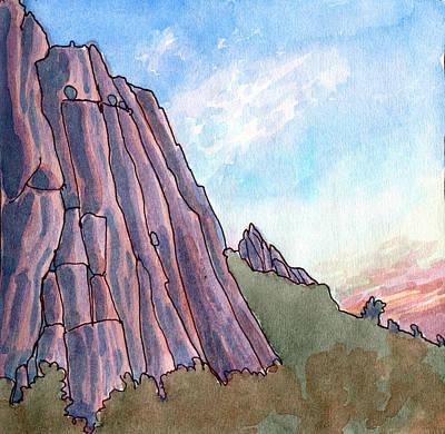 Provence Drawing - Limestone Cliffs At Dusk  by Elizabetha Fox