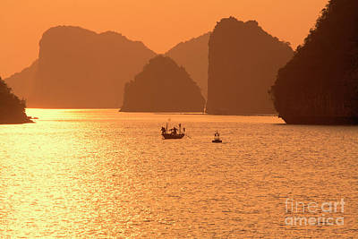 Photograph - Limestone Shadows Explode Ha Long Bay Sunburst Vietnam  by Chuck Kuhn