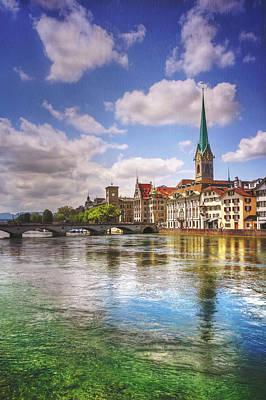 Zurich Photograph - Limmat River Zurich Switzerland  by Carol Japp