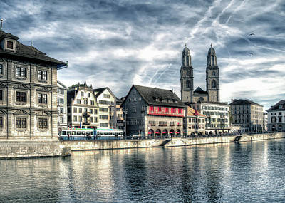 Print featuring the photograph Limmat Riverfront by Jim Hill