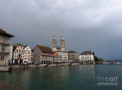 Photograph - Limmat Waterfront On A Stormy Day In Zurich Switzerland by Louise Heusinkveld