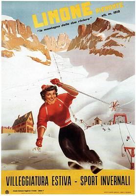Sports Paintings - Limone Piemonte - Winter Sports - Girl Skiing in the Italian Alps - Retro Travel Poster by Studio Grafiikka