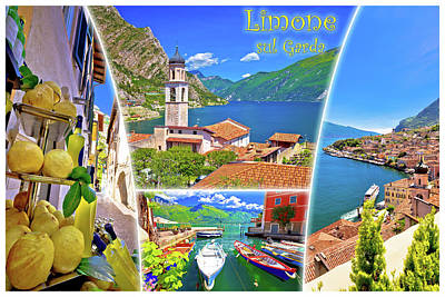 Photograph - Limone Sul Garda Collage Postcard With Label by Brch Photography