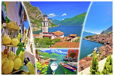 Photograph - Limone Sul Garda Collage Tourist Destination Postcard by Brch Photography