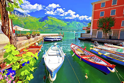 Photograph - Limone Sul Garda Turquoise Waterfront And Boats View by Brch Photography