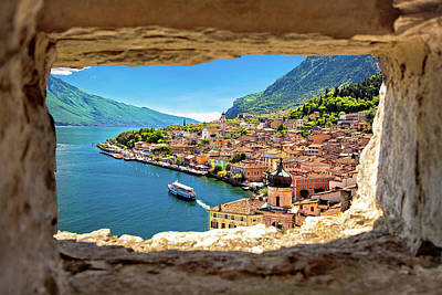 Photograph - Limone Sul Garda View Through Stone Window From Hill by Brch Photography