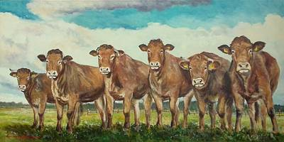 Painting - Limousine Cows by Luke Karcz
