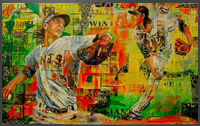 Tim Lincecum Painting - Lincecum's Stride by Robert Marosi Bustamante