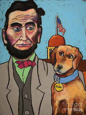 Abraham Lincoln Drawing - Lincoln And Fido by David Hinds