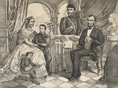 Abraham Lincoln Drawing - Lincoln And His Family by American School