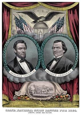Landmarks Painting Royalty Free Images - Lincoln and Johnson Election Banner 1864 Royalty-Free Image by War Is Hell Store