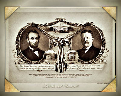 Digital Art - Lincoln And Roosevelt - Remastered by Carlos Diaz