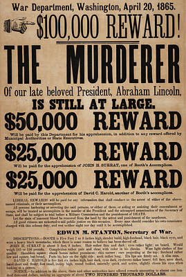 Accomplice Painting - Lincoln Assassination Reward Poster by American School