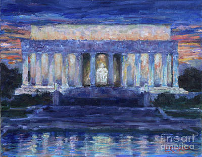 Lincoln Memorial Painting - Lincoln At Dusk by Elizabeth Roskam