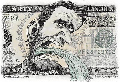 Drawing - Lincoln Barfs by Daryl Cagle