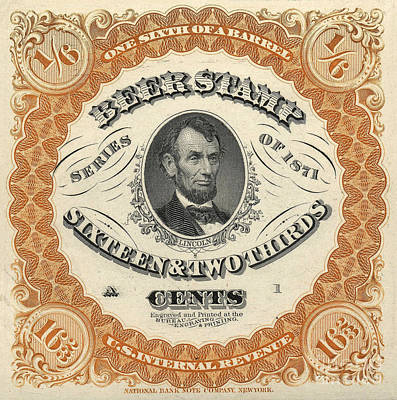 1871 Lincoln Beer Tax Stamp Art Print by Jon Neidert