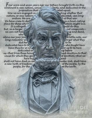 Politicians Digital Art - Lincoln Bust and Gettysburg Address by Randy Steele