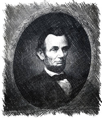 Us Flag Mixed Media - Lincoln Bw Portrait by Thomas Woolworth