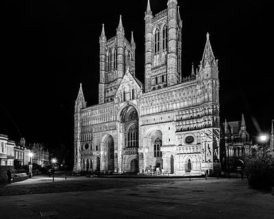 Photograph - Lincoln Cathedral West Facade By Night by Jacek Wojnarowski