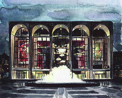 Lincoln Center Met Opera Fountain New York City Ballet Nyc Dusk Art Print by Laura Row