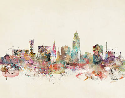 Lincoln City Skyline Nebraska Art Print