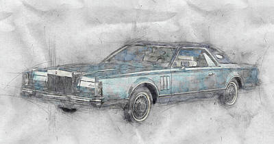 Transportation Mixed Media - Lincoln Continental Mark V 1 - 1977 - Automotive Art - Car Posters by Studio Grafiikka