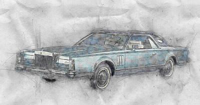 Mixed Media Royalty Free Images - Lincoln Continental Mark V 1 - 1977 - Automotive Art - Car Posters Royalty-Free Image by Studio Grafiikka