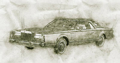 Transportation Mixed Media - Lincoln Continental Mark V - 1977 - Automotive Art - Car Posters by Studio Grafiikka