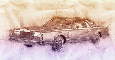 Transportation Mixed Media - Lincoln Continental Mark V 2- 1977 - Automotive Art - Car Posters by Studio Grafiikka