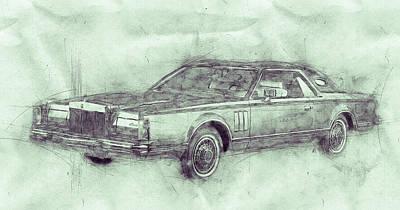 Mixed Media Royalty Free Images - Lincoln Continental Mark V 3 - 1977 - Automotive Art - Car Posters Royalty-Free Image by Studio Grafiikka