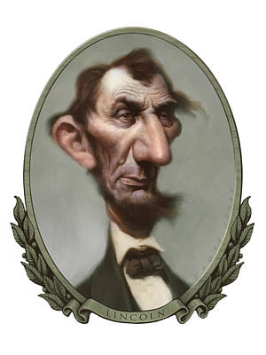 Caricature Portraits Painting - Lincoln by Court Jones
