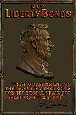 Landmarks Painting Royalty Free Images - Lincoln Gettysburg Address Quote Royalty-Free Image by War Is Hell Store