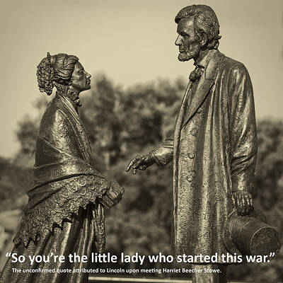 Photograph - Lincoln Meets Stowe Sculpture With Quote by Phil Cardamone