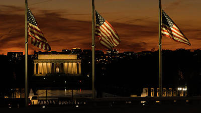 Photograph - Lincoln Memorial American Flags Washington Dc by Lawrence S Richardson Jr