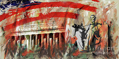 Painting - Lincoln Memorial And Lincoln Statue by Gull G
