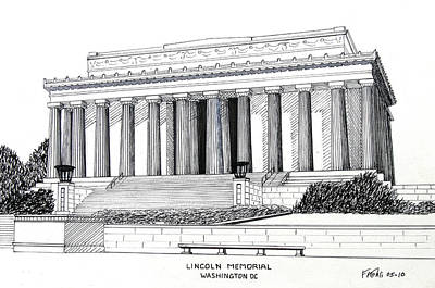 Pen And Ink Historic Buildings Drawings Drawing - Lincoln Memorial  by Frederic Kohli