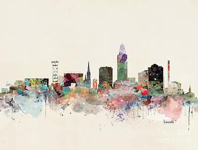 Painting - Lincoln Nebraska Skyline by Bleu Bri