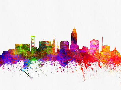 Lincoln Nebraska Skyline Color02 Art Print by Aged Pixel